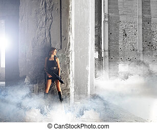 fiatal, és, szexi, nő, noha, a, géppuska, alatt, apocalyptic, landsca