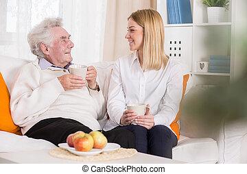 fiatal, önként felajánl, alatt, öregek otthona