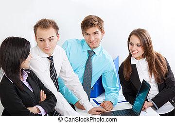 fiatal, ügy emberek, alatt, hivatal