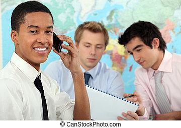 fiatal, üzletember, képben látható, egy, nevelési, képzés