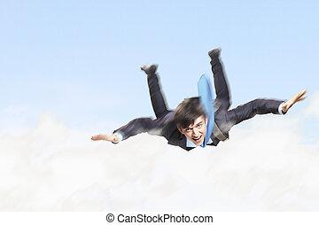 fiatal, üzletember, repülés, noha, ejtőernyő, képben látható, hát