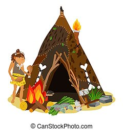 fiatal, ősi, leány, főzés, -ban, nyílik, fire., barlang,...