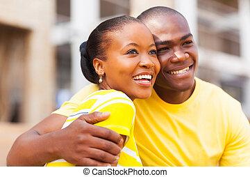 fiatal, african american összekapcsol, szabadban, külső