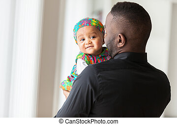fiatal, african american, atya, birtok, noha, neki, csecsemő lány