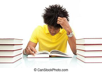 fiatal, african american, hallgató olvas, előjegyez, -,...
