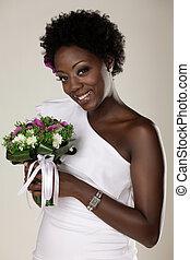 fiatal, african american, menyasszony