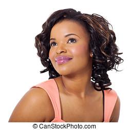 fiatal, african woman, külső külső