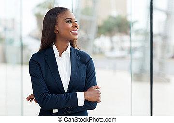 fiatal, afrikai, üzletasszony