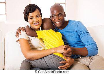 fiatal, afrikai, család, közül, három, ülés, otthon