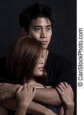 fiatal, bájos, ázsiai, multiracial párosít