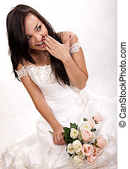 fiatal, bájos, barna nő, orosz, menyasszony