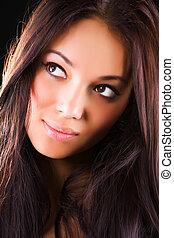 fiatal, barna nő, woman portré