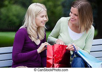 fiatal, bevásárlás, nő, dísztér