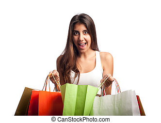 fiatal, bevásárlás, nő