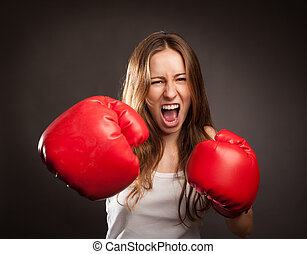 fiatal, bokszoló, nő