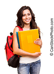 fiatal, boldog, diák