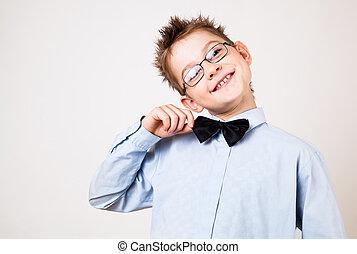 fiatal, boldog, fiú, külső at, fényképezőgép.