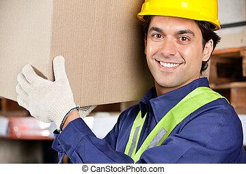 fiatal, brigádvezető, emelés, kartonpapír ökölvívás