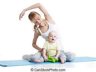 fiatal, csecsemő, testedzés, anyu, állóképesség, ünnepély
