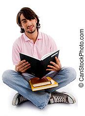 fiatal, diák, elfoglalt, alatt, tanulás