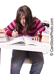 fiatal, diák, tanulás, helyett, vizsga