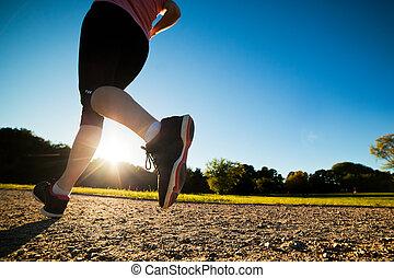 fiatal, egészséges, nő, cselekszik, futás, kocogás, képzés