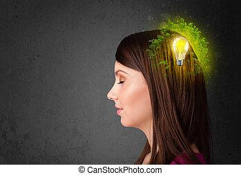 fiatal, elme, gondolkodó, közül, zöld, eco, energia, noha, lightbulb