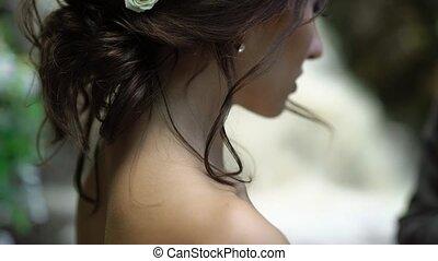 fiatal, esküvő párosít, -ban, ünnepély, közel, vízesés