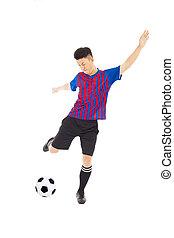 fiatal, futball játékos, rúgás, labda