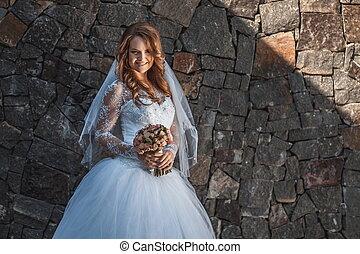 fiatal, gyönyörű, menyasszony