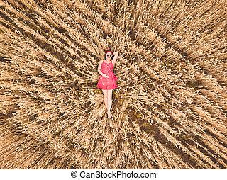 fiatal, gyönyörű woman, alatt, piros, retro, ruha, és, napszemüveg, fekvő, alatt, búza, sárga, field., repülés, becsuk, felül, cornfield., antenna, henyél, nézet., betakarít, mezőgazdaság, concept.