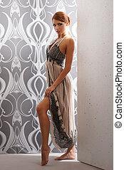 fiatal, gyönyörű woman, alatt, retro mód, női fehérnemű