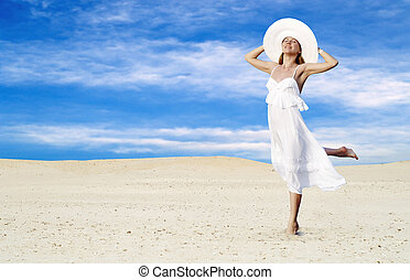 fiatal, gyönyörű women, alatt, fehér, pihenés, -ban, napos,...