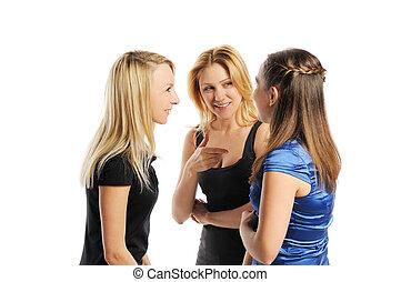 fiatal, három, bájos, nők
