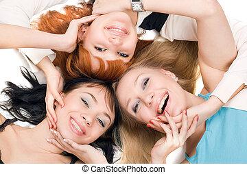 fiatal, három, vidám, nők