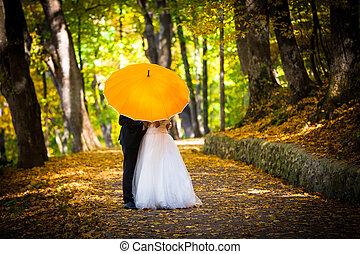fiatal, házaspár, szerelemben, csókolózás, alatt, esernyő