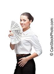 fiatal, jókedvű, üzletasszony, kitart pénz