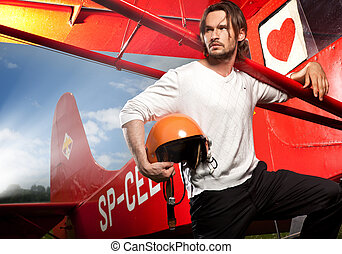 fiatal, jelentékeny, ember, feltevő, mellett, repülőgép