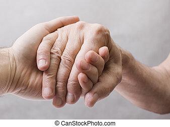 fiatal, kéz, öreg, segítség, ad