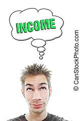 fiatal, körülbelül, ember, őt megfontolás, jövedelem