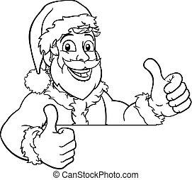 fiatal, karikatúra, kandikál, szent, felett, karácsony, aláír