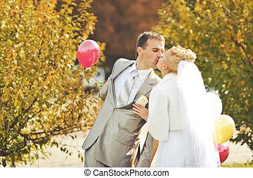 fiatal, kaukázusi, esküvő párosít
