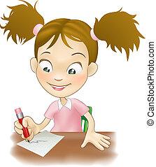 fiatal lány, írás, -ban, neki, íróasztal