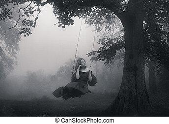 fiatal lány, ülés, képben látható, a, hinta