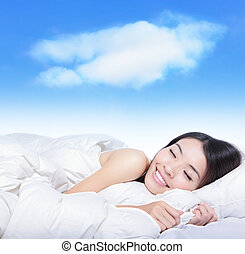 fiatal lány, alvás, képben látható, egy, vánkos, noha, white...