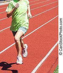 fiatal lány, futás, képben látható, egy, piros, útvonal