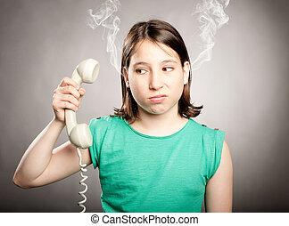 fiatal lány, noha, telefon, lesújtott
