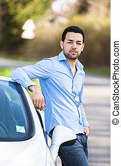 fiatal, latin-amerikai, sofőr, elhelyezett, képben látható,...