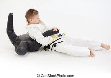 fiatal, módszer, judoist, manöken, gyakorló