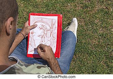 fiatal, művész, időz, rajz